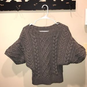 Express cable knit sweater short sleeve gray